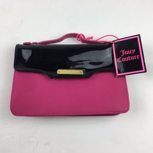 NWT Juicy Couture Pink Black Gift Clutch Purse PVC